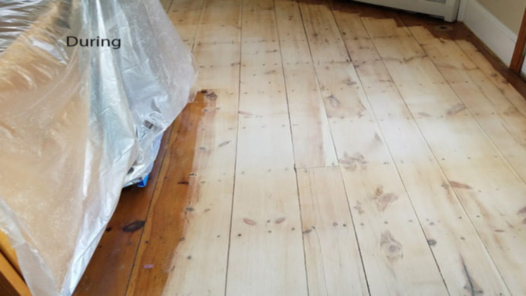 Medford Old Pine Floor Repaired And Refinished To Match New