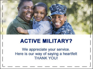 Active military appreciation coupon