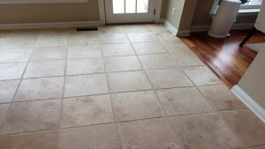 Cleaned wide grout after professional tile steam cleaning