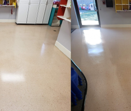 Vinyl School Tile Clean and Brilliant , Dirt Under Wax Removed