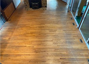 Finish worn from sand and grit on hardwood floor, Red Oak Floor Scratched Traffic Areas, Sand Exterior Causes Worn Traffic Areas on Hardwood Floor, Scratched & Damaged Hardwood from Sandy Environment